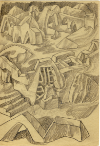 """Labyrinth. 1950's. P., graphite pencil. On the back there is the """"Rocky staircase"""". 21x14.5."""