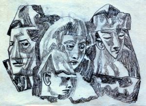 Someone-1. 1950's. P., graphite pencil. 10.5 x 14.5.