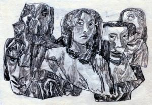 Someone-3. 1950's. P., graphite pencil. 10.5x14.5.