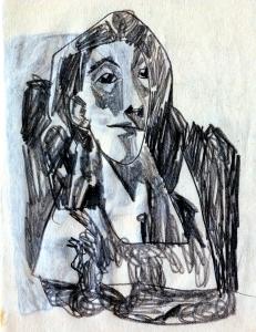 Someone-4. 1950's. P., graphite pencil. 14.5x10.5.