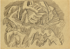 A Rocky Staircase (turn of Labyrinth). 1950's. P., graphite pencil. 21x14.5.