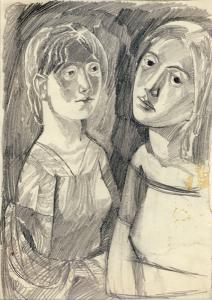 Two Girls. 02/27/1960. P., graphite pencil. 30.5x20.5.