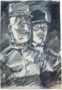 French People. 1960. P., graphite pencil. 21x14.6.