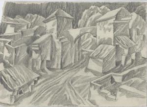 City Gate. 1960. P., graphite pencil. 21x30.