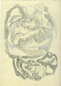 Clown and Spectator. 1960. P., pencil, crayon. 30x21.
