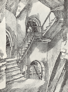 """Stairs. Sketch for the movie """"Personal Affair."""" 1931. P., ink, pen."""
