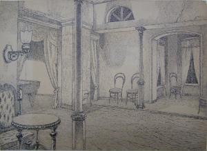 "Sketch for the film ""Gentlemen Officers"" (""Duel""), is unrealized. 1937. P., ink, pen. 23x32."
