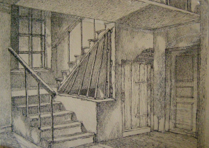 """Stairs. Sketch for the film """"Gentlemen Officers"""" (""""Duel""""), unrealized. 1937. P., ink, pen. 19,6x28."""