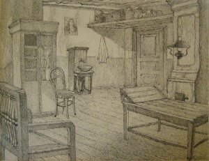 """The doctor's reception room. Sketch for the movie """"Surgery"""" .1937. P., ink, pen. 21,7x28,7."""