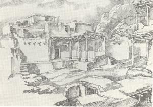 "Kishlak. Sketch for the movie ""Crossing"". 1938. P., ink, pen."