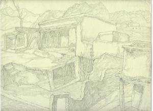 "Sketch for the movie ""Crossing"". 1939. P., graphite pencil. 22x29."