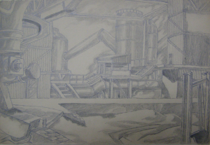 """Shop. Sketch for the movie """"Father and Son"""". 1941. P., graphite pencil. 22x32."""