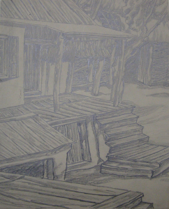 """The Yard of the Collective Farm. Sketch for the movie """"The White Rose"""". 1943. P., graphite pencil. 28,6x23,2."""