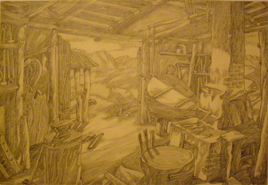 """Forge. Sketch for the movie """"The White Rose"""". 1943. P., graphite pencil. 30x43.5."""