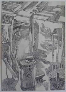 """Forge. Sketch for the movie """"The White Rose"""". 1943. P., ink, pen. 42x29."""