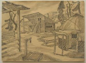 """Sketch for the movie """"Golden Horn"""". 1948. P., ink, pen. 30x41."""