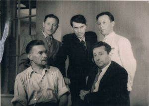 A film crew. 1950's. Pavel Zaltsman - in the center.