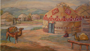 """Yurt. Sketch for the movie """"Daughter of the Steppes."""" 1954. Cardboard, oil. 24x42."""