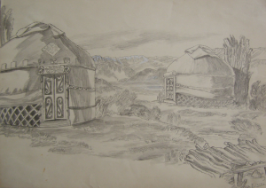 """Yurts. Sketch for the movie """"Poem about Love."""" 1953. P., graphite pencil. 29,3x41."""