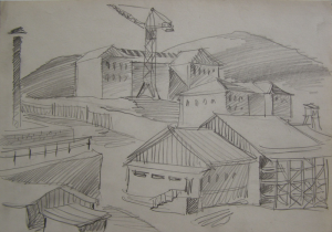 """Sketch for the movie """"On the Wild Bank of Irtysh."""" 1958. P., graphite pencil. 19x27."""