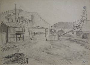 """Sketch for the movie """"On the Wild Bank of Irtysh."""" 1958. P., graphite pencil. 29,2х48."""