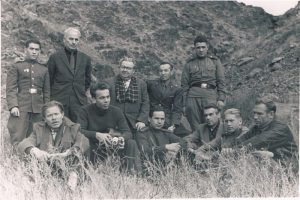 "On the set of ""Where the Edelweiss Blossoms"". Trans-Ili Alatau. 1965. Pavel Zaltsman - third from the right in the bottom row."
