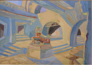 """Sketch for the movie """"Jump into the Unknown"""". 1973. Cardboard, oil. 34x48."""