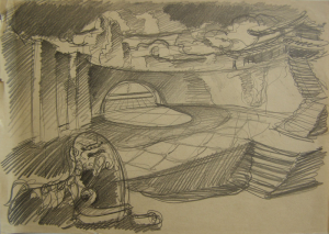"""Lion Сatacomb. Sketch for the movie """"Jump into the Unknown."""" 1973. P., graphite pencil. 21x30."""