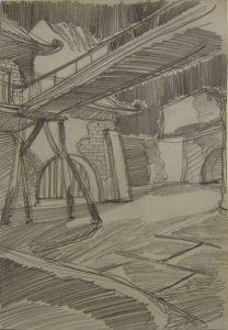 """Sketch for the movie """"Jump into the Unknown."""" 1973. P., graphite pencil. 28,7x20,4."""