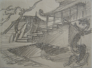 """Dancing Dragon. Sketch for the movie """"Jump into the Unknown."""" 1973. P., graphite pencil. 15x21."""