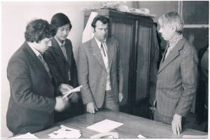 "At the film studio ""Kazakhfilm"". 1979. Pavel Zaltsman - on the right."