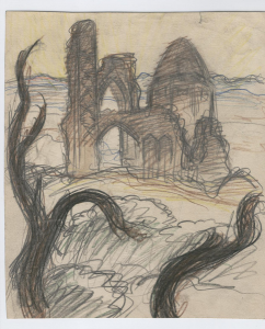 Ruins of the Mosque. 1961. P., graphite pencil. 27x22.
