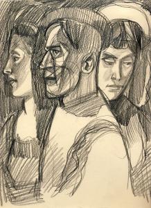 Three-II. 1961. P., graphite pencil. 29.5 × 25.5.