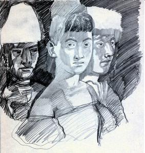 Three. 1960's. P., graphite pencil. 30x21.