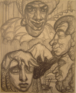 Heads (litetary imagination). 1930. P., pencil. 16х13.