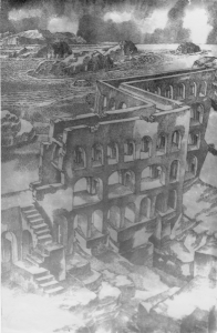 Крепость у залива. 1962. Б., тушь, перо. 41х29,5.