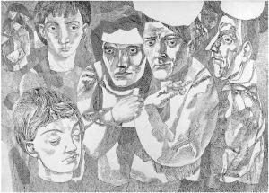 Прыжки в круге. 1962. Б., тушь, перо. 60x83,5.