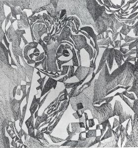Котенок. 1963. Б., тушь, перо, 50х46.