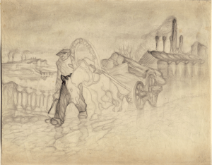 Drayman. 1930. P., pencil. 22х27.