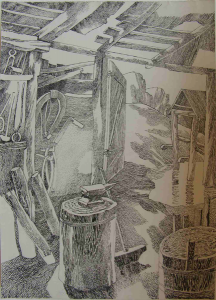 """Repeated sketch to the film """"White rose"""", 1943. 1960. P., ink, pen. 39,7x29,6."""