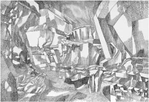 Фантастический пейзаж (опыты I). 1966. Б., тушь, перо. 44х64.