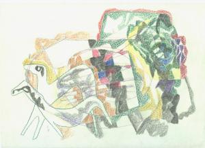 Fantasy. 1967. P., crayon. 20x29.