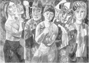 Ночная прогулка (Происшествие у рампы). 1967. Б., тушь, перо. 62х85.