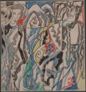 The Eastern Motive. 1960's. P., graphite pencil, crayon.