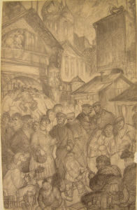 Flea market. 1931. P., pencil. 36х23.