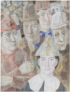 Actors in the square. 1969. P., watercolor. 75x56.5.