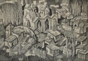 Площадь. 1969. Б., тушь, перо. 51х73,5. Калининградская государственная художественная галерея.