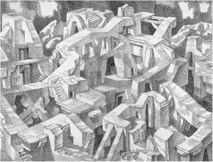 Иное (Чужой город). 1970. Б., тушь, перо. 45х60.