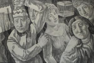 Валеты и дамы. 1975. Б., тушь, перо. 56,2х85. Калининградская государственная художественная галерея.