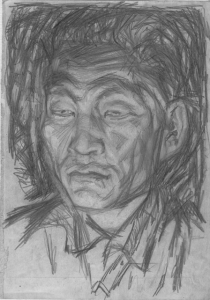 Man's portrait. 1932. Paper, pencil. 27x19.